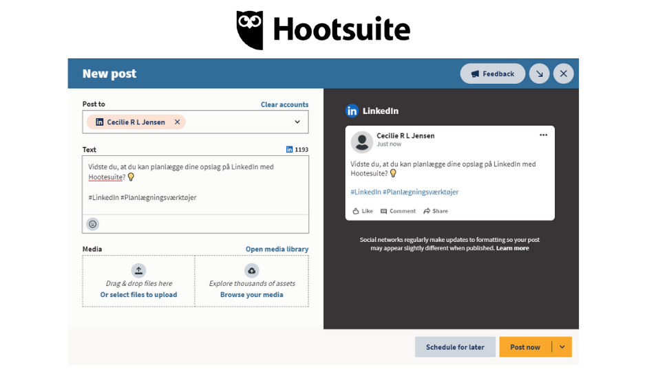 Planlæg dine LinkedIn opslag med Hootesuite